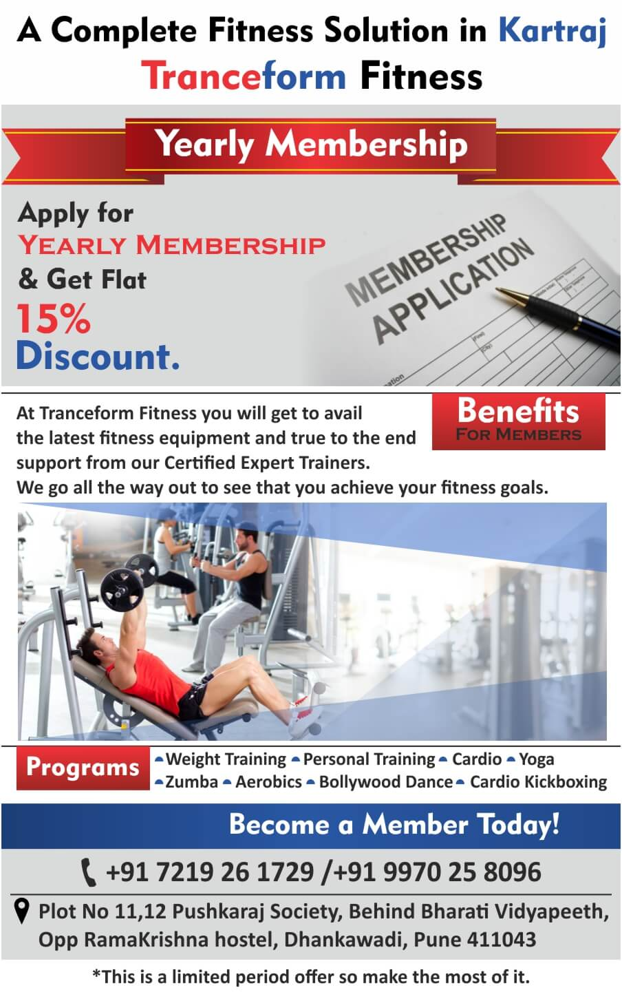 Yearly Membership At Tranceform Fitness A GYM IN PUNE - Dhankawadi Near Katraj