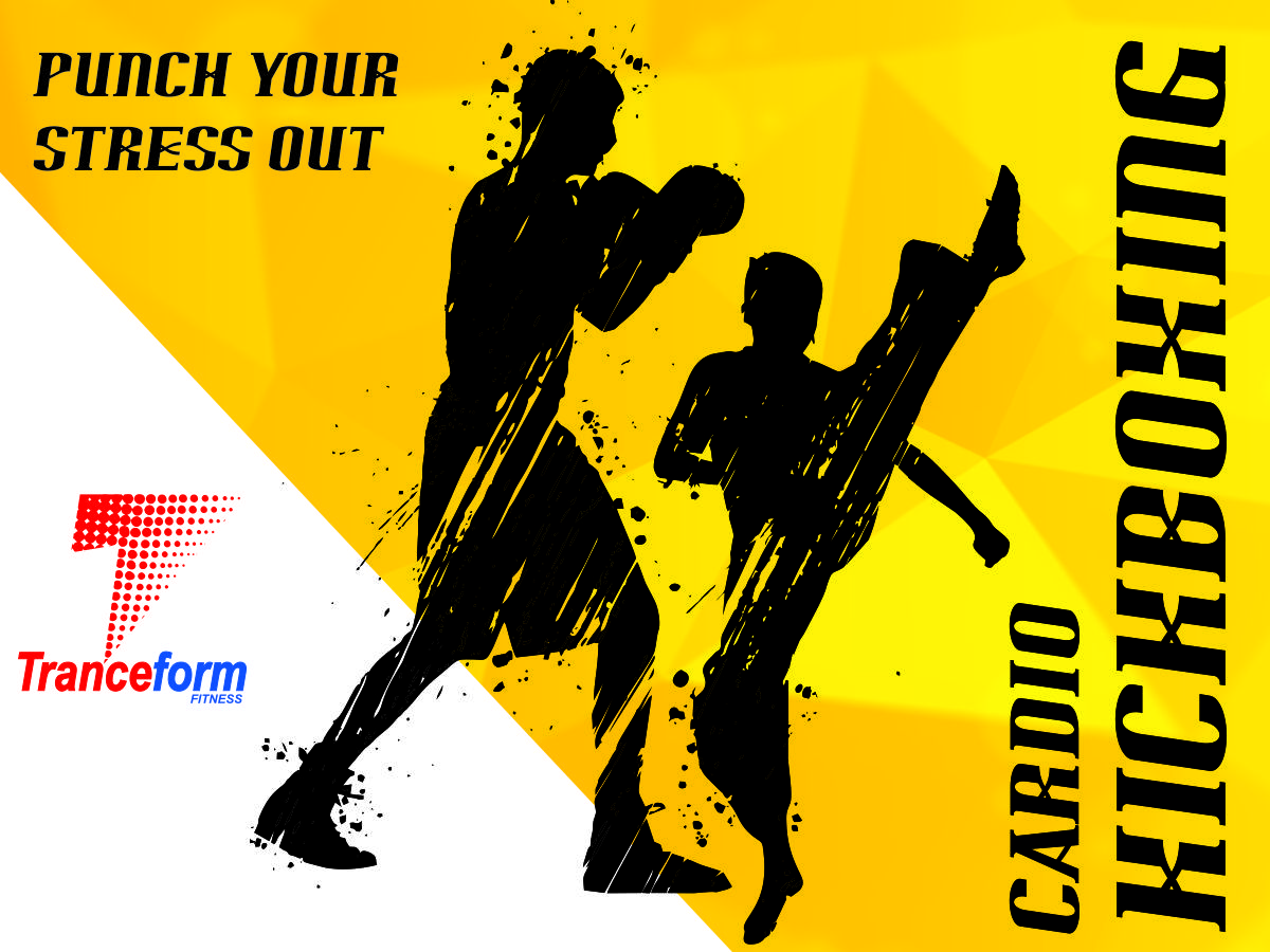 info graphics of two shadows kicking and doing the best cardio kickboxing classes in pune at Tranceform Fitness